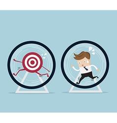 businessman running for target in hamster wheel vector image