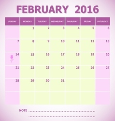 Calendar February 2016 week starts Sunday vector image vector image