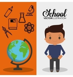 Cartoon school pupil boy globe flyier vector