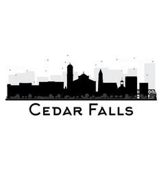 cedar falls iowa skyline black and white vector image