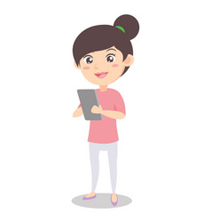 character mother with phone style vector image vector image