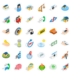 contact us icons set isometric style vector image vector image