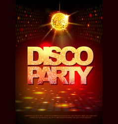 disco ball background disco party poster neon vector image