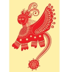 Ethnic fantastic animal doodle design in karakoko vector