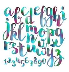 Handwritten brush pen colorful font vector image