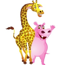 Hippo and giraffe vector image vector image