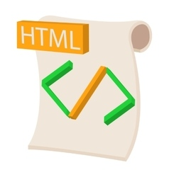 Html icon cartoon style vector