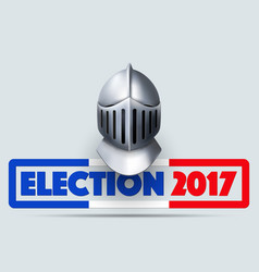 Knight helmet with french election symbol vector