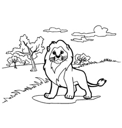 lion cartoon coloring pages vector image vector image