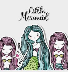 little mermaid art cartoon vector image vector image