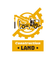 Logo of construction equipment globe earth gear vector