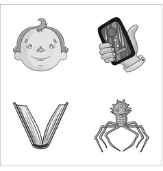 Man education and other monochrome icon in vector