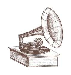 Old gramophone hand draw sketch vector