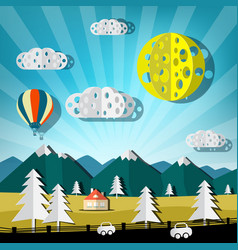 paper cut landscape nature scene with road cars vector image vector image