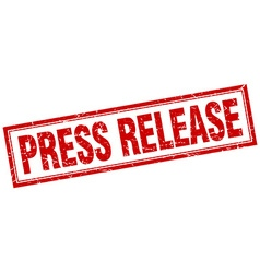 Press release red grunge square stamp on white vector