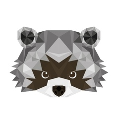 raccoon head low poly isolated icon vector image