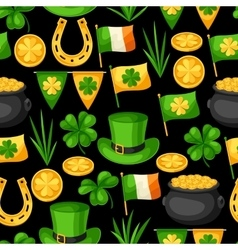 Saint patricks day seamless pattern flag ireland vector