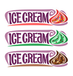 Set labels for ice cream vector