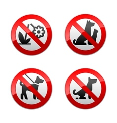 set prohibited signs - animals vector image