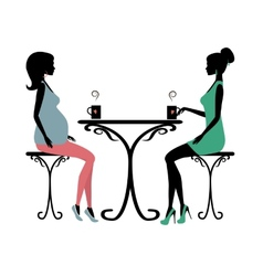 Silhouette of two fashionable women vector