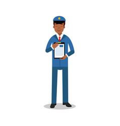 smiling postman in blue uniform holding clipboard vector image