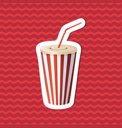 Sticker of soda cup on red striped background vector