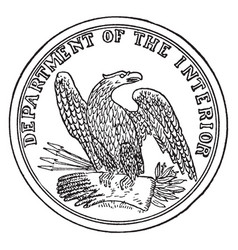 The seal of the department of the interior of the vector