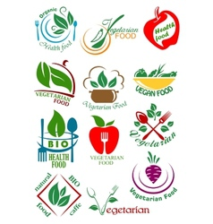 Vegetarian health food abstract design elements vector image vector image