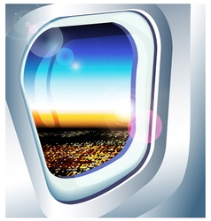 view from a plane window over the city vector image vector image