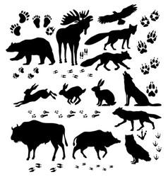 Wild animals and birds silhouette vector