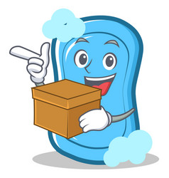 With box blue soap character cartoon vector