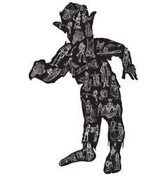 Zombie in pajamas freehand vector