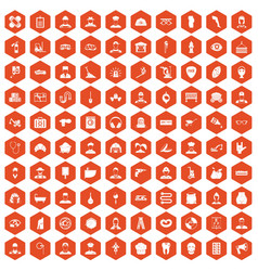 100 different professions icons hexagon orange vector