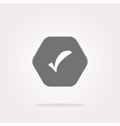 Glossy web button with check mark sign icon vector