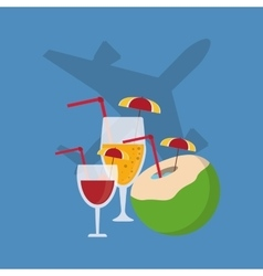 Airplane and cocktails travel related icons image vector