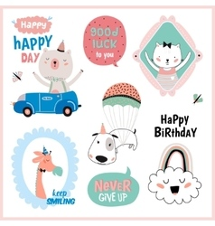 Set of birthday cards gift tags labels vector