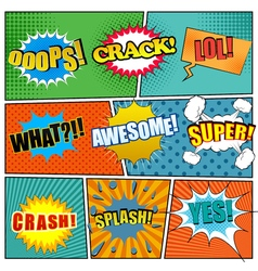 Comic book page template with expressions vector