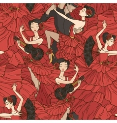 Pattern with tango and flamenco dancers vector