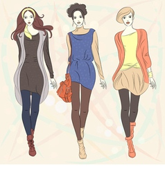 Fashion girls top models vector