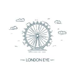 The london eye flat line vector