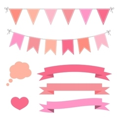 Set of pink flat buntings garlands ribbons and vector