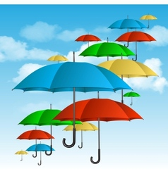 Ccolorful umbrellas flying high vector