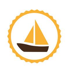 Circular frame with sailing boat vector