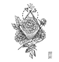 Hand drwan sketch  tattoo style vector
