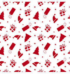 Christmas red ornament doodle seamless pattern vector