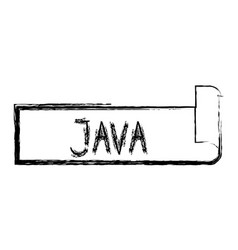 Monochrome blurred silhouette label text of java vector