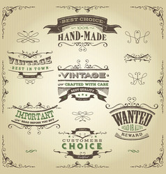 Hand drawn western banners and ribbons vector