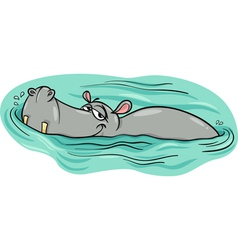 Hippo or hippopotamus in river cartoon vector