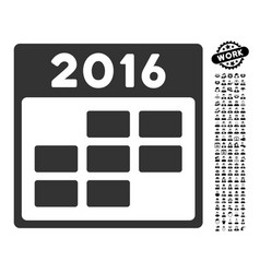 2016 month calendar icon with job bonus vector