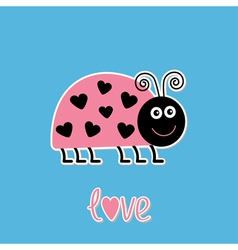 Cartoon pink lady bug with dots in shape of heart vector